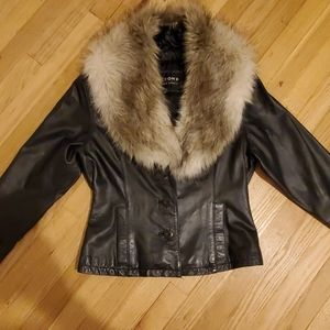 Wilsons leather xs coat with removable fur collar